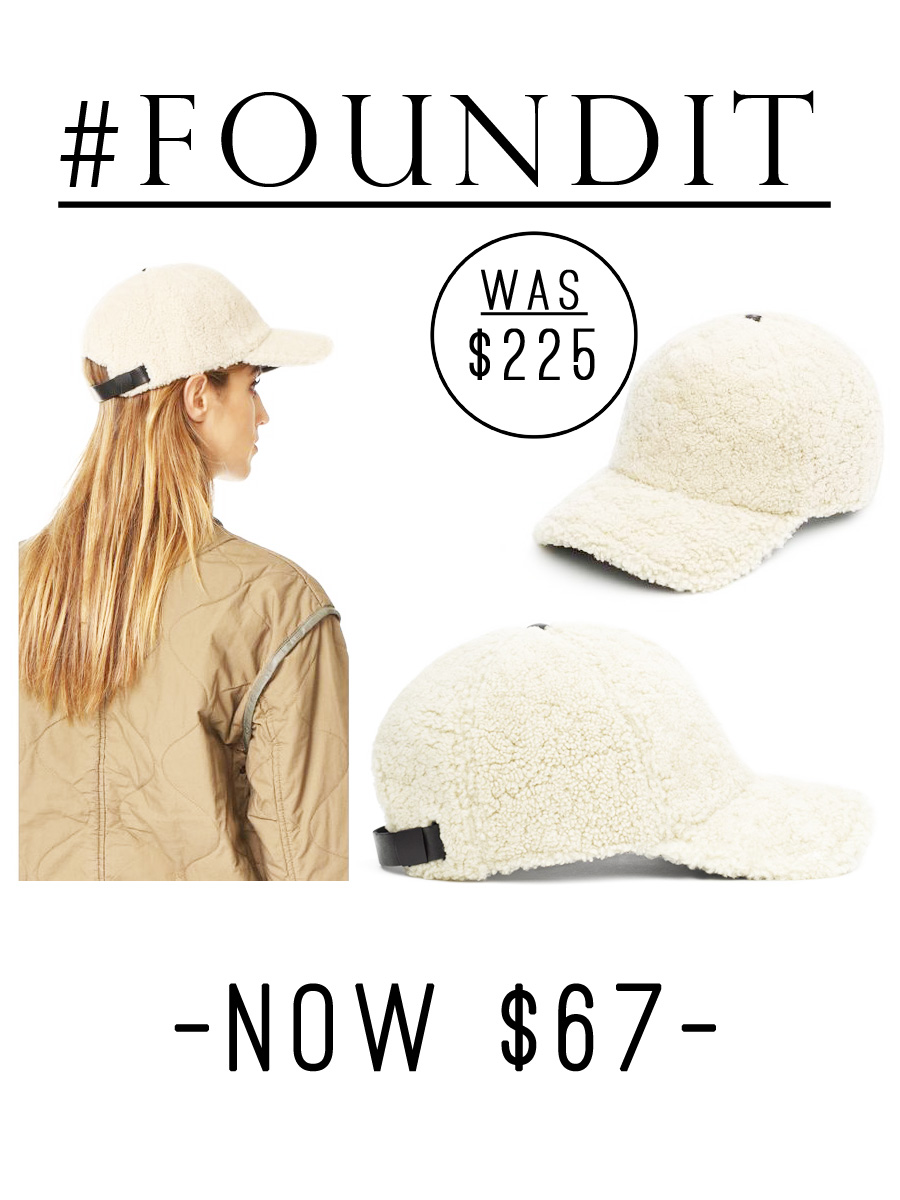Rag and bone shearling baseball hat.  Such a good sale!