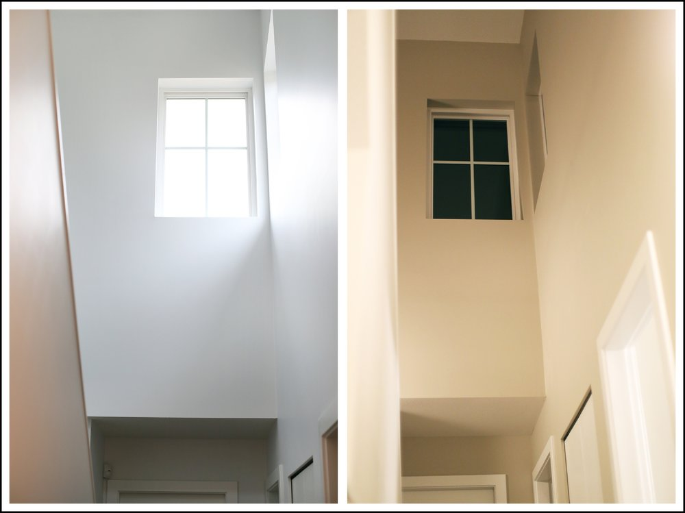 Gallery Wall White Behr Paint. This before and after is insane!