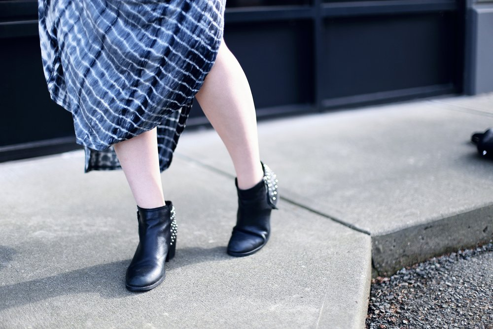 Studded booties with a jersey maxi dress (that is $19!).