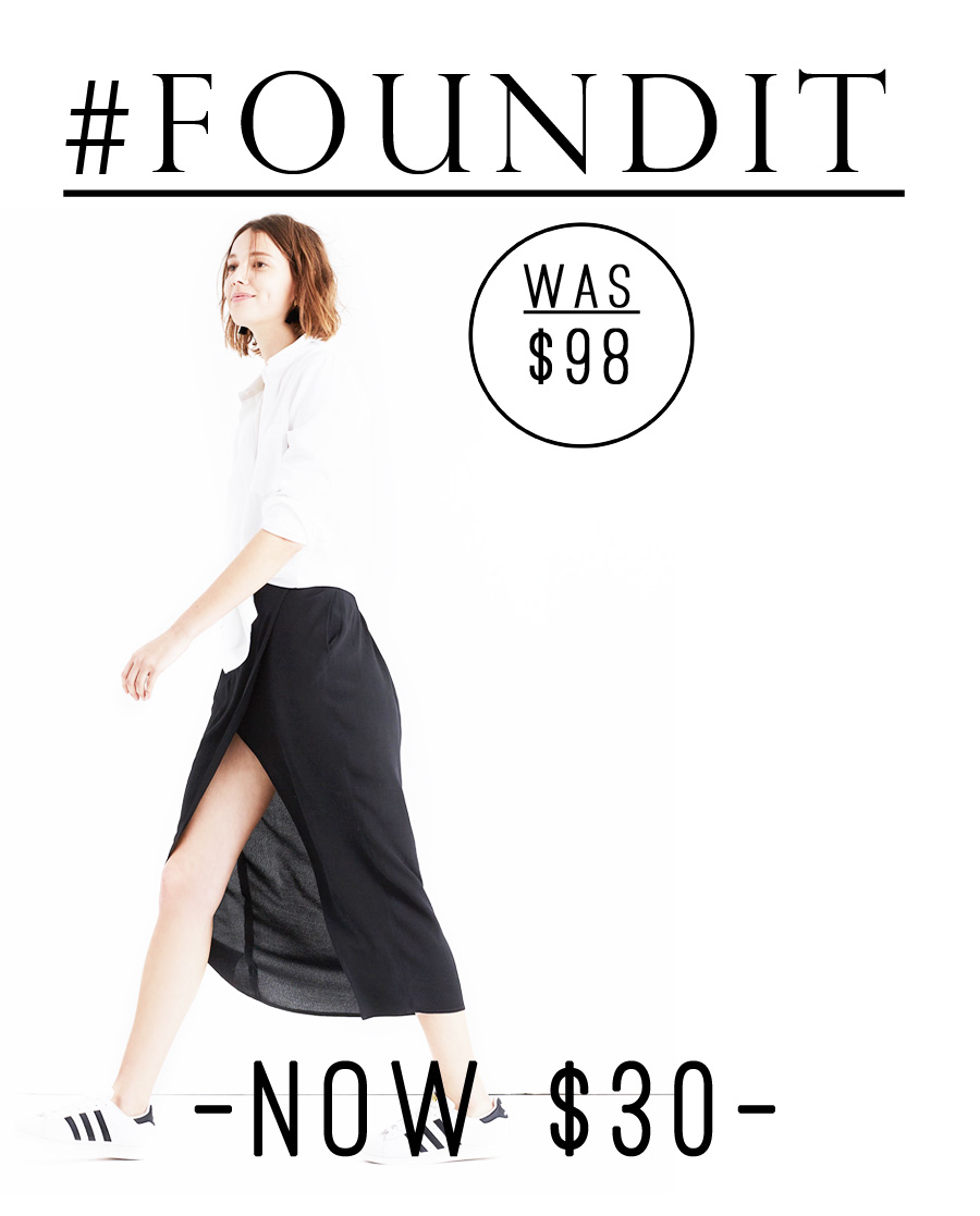 This madewell black midi skirt is currently 70% off! #sale