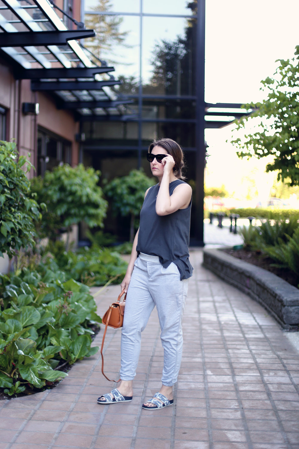 My favourite lazy outfit: grey sweatpants, sandals, a Mezzi bag, and black sunglasses.