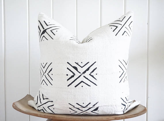 Such a pretty textured pillow. African mudcloth, minimalist, and black and white.
