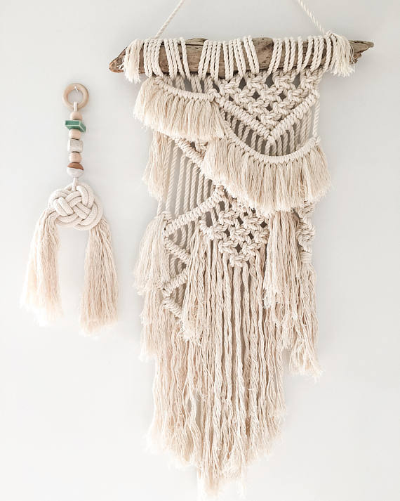 I love this wall art - it's a little boho, a little hippie, and really cool. Macrame wall hanging - handmade too!