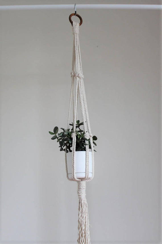 White Macrame planter.