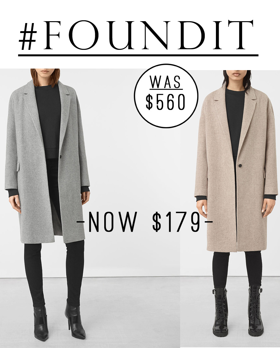 I LOVE All Saints coats and jackets (but not necessarily the price).  This coat is currently 70% off! Super cute minimalistic winter fashion.
