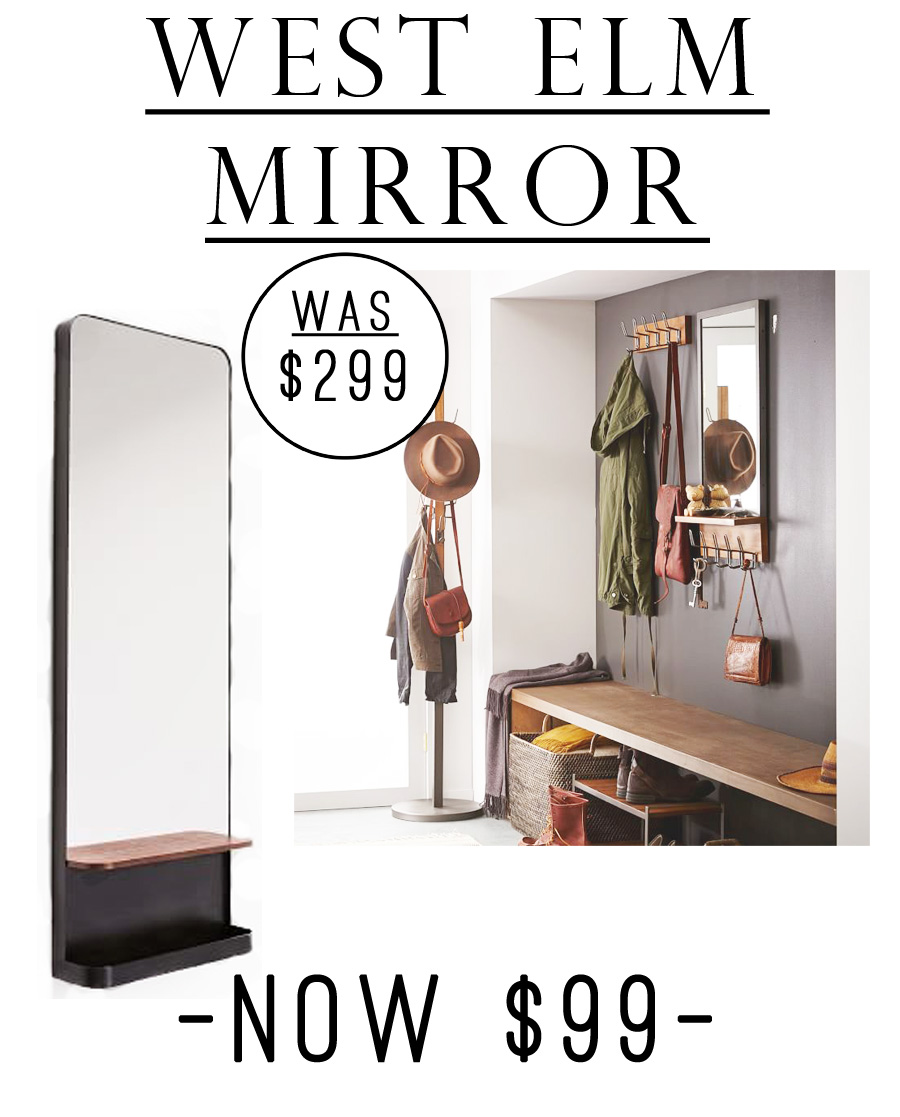 This West Elm shelf mirror is currently just $99! This would look fantastic in an entryway or among minimalist decor.