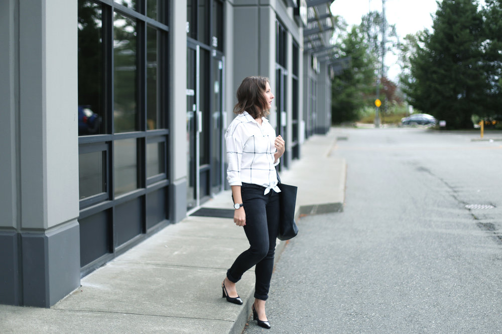 Minimalist black and white street style.