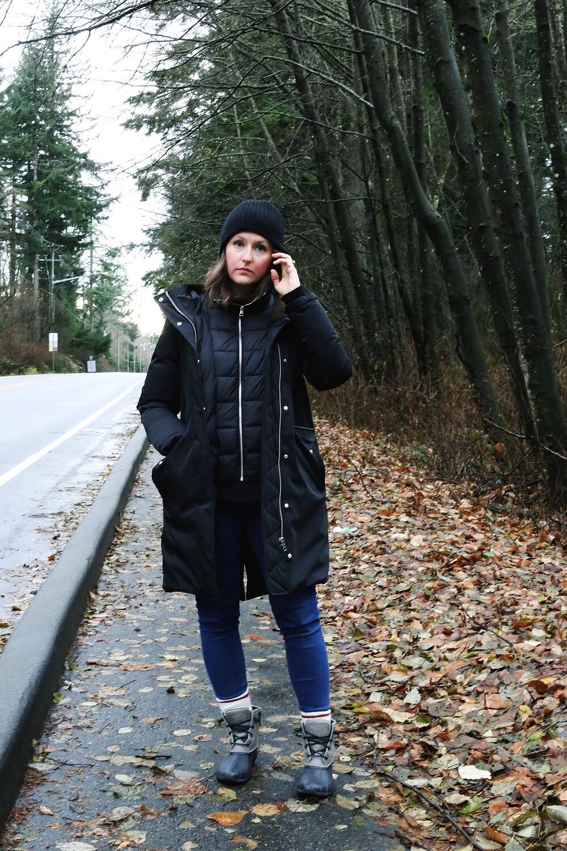 Duck boot (rain boot) street style.