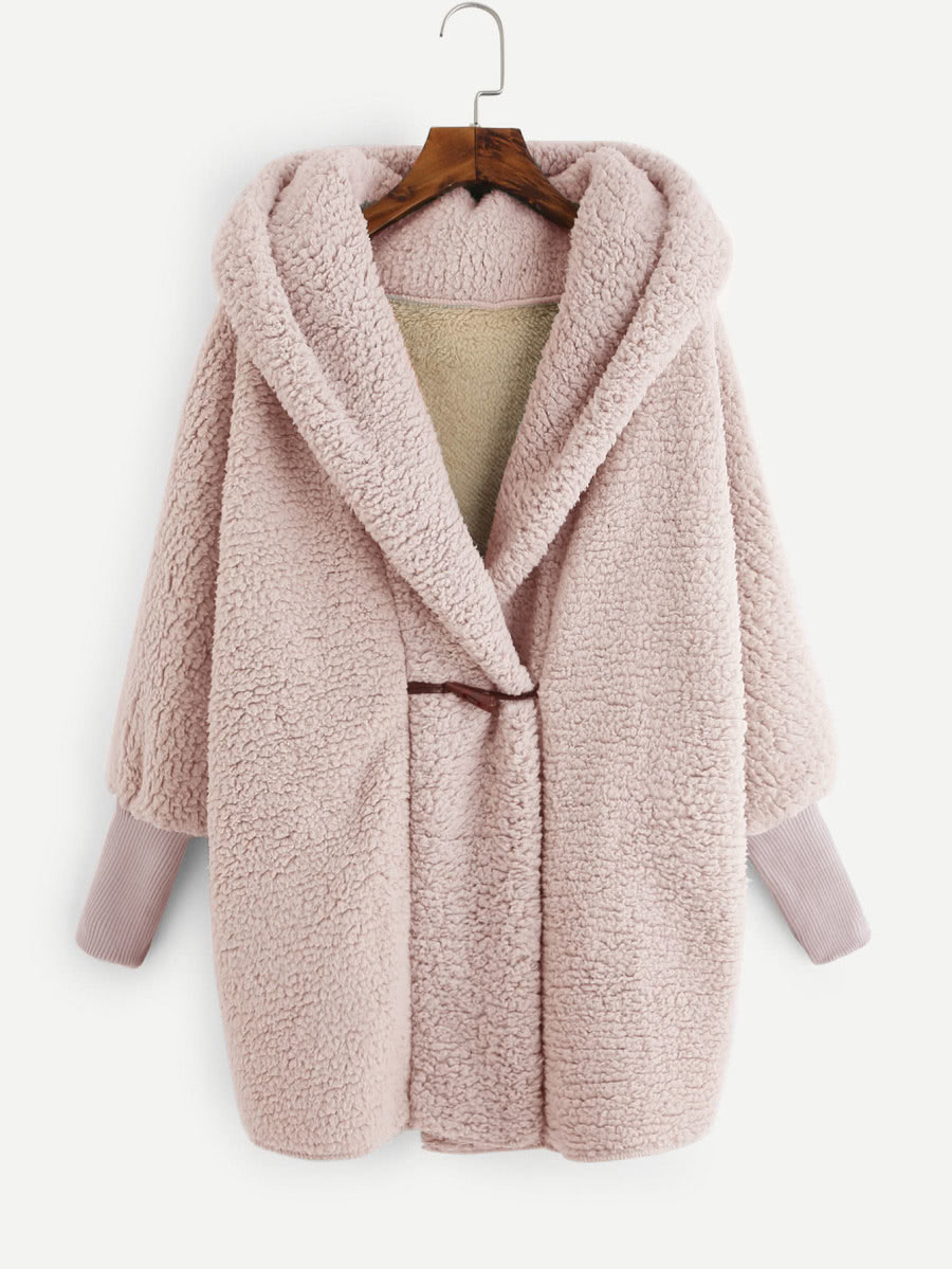 Pink   Hooded Faux Fur Coat .