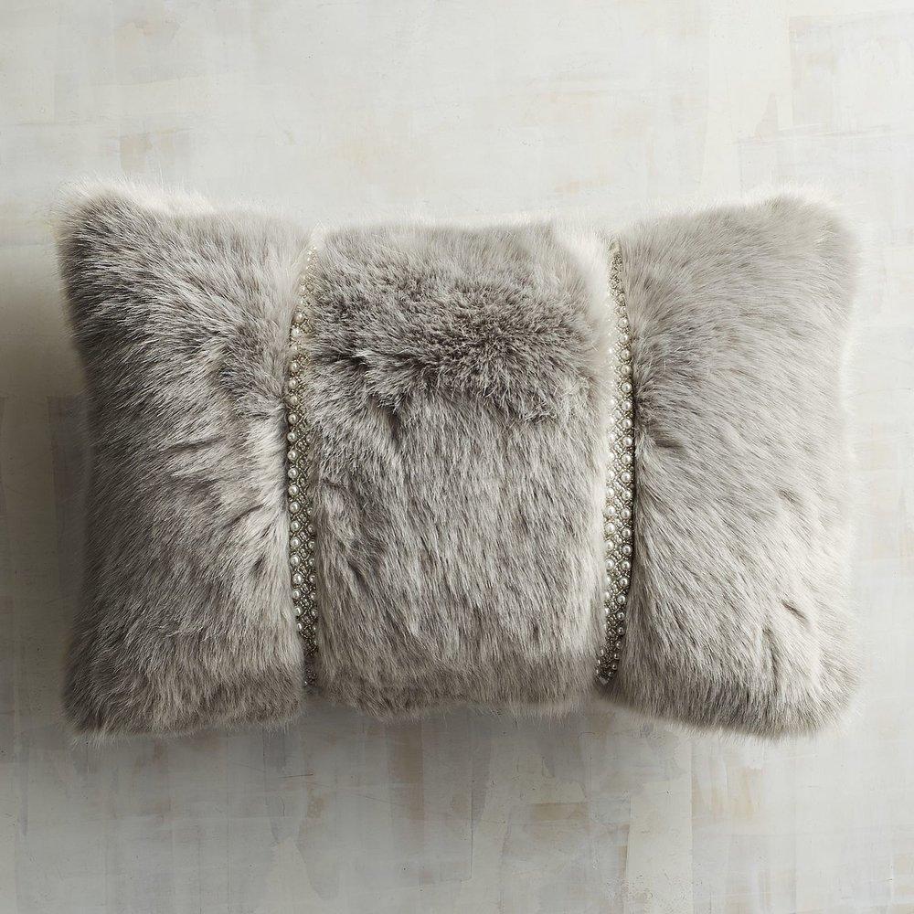 Grey Lumbar Pillow .