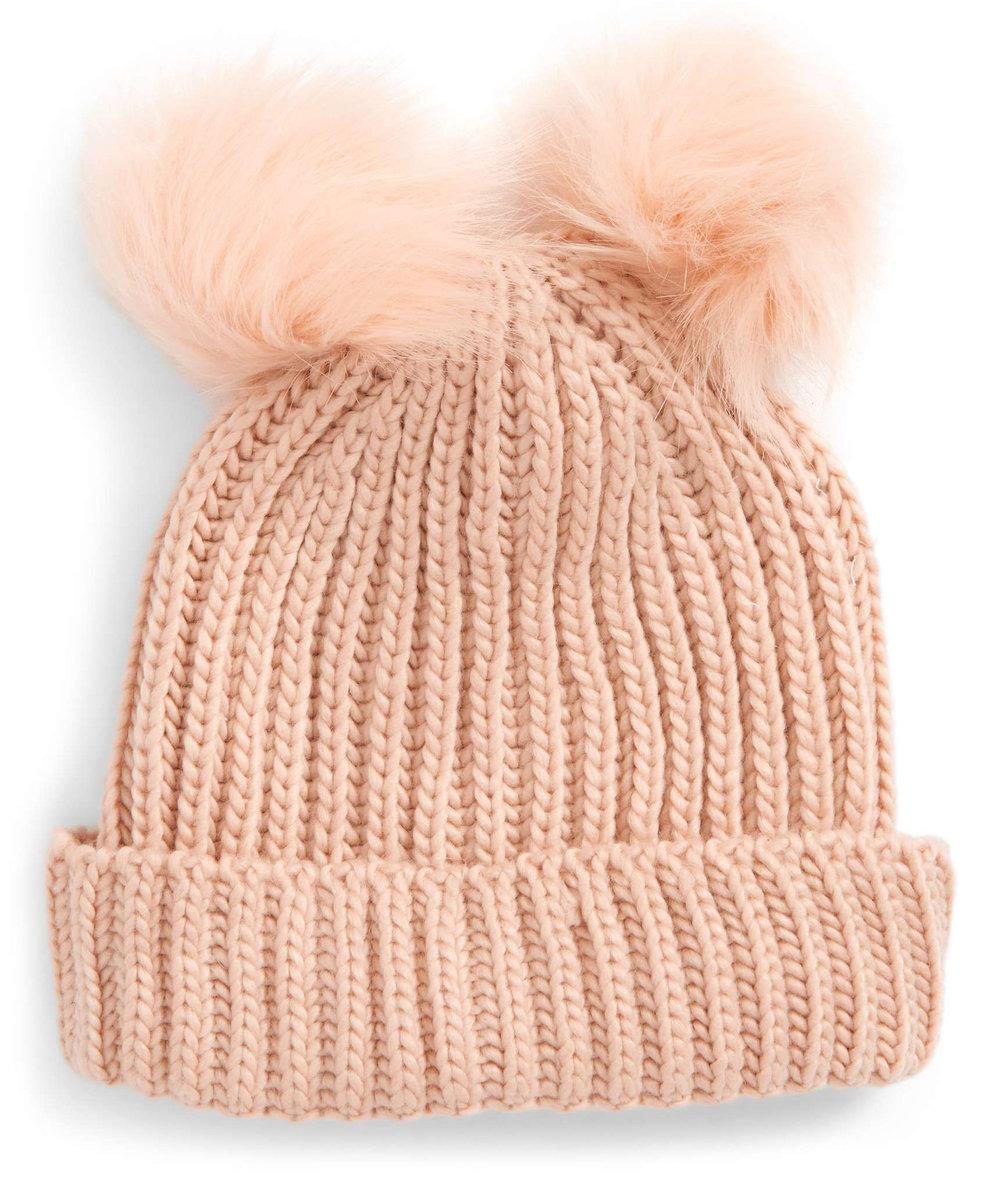 Double Pom Pom Hat .