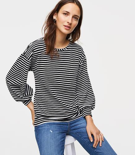 Velvet Puff Sleeve Sweatshirt .