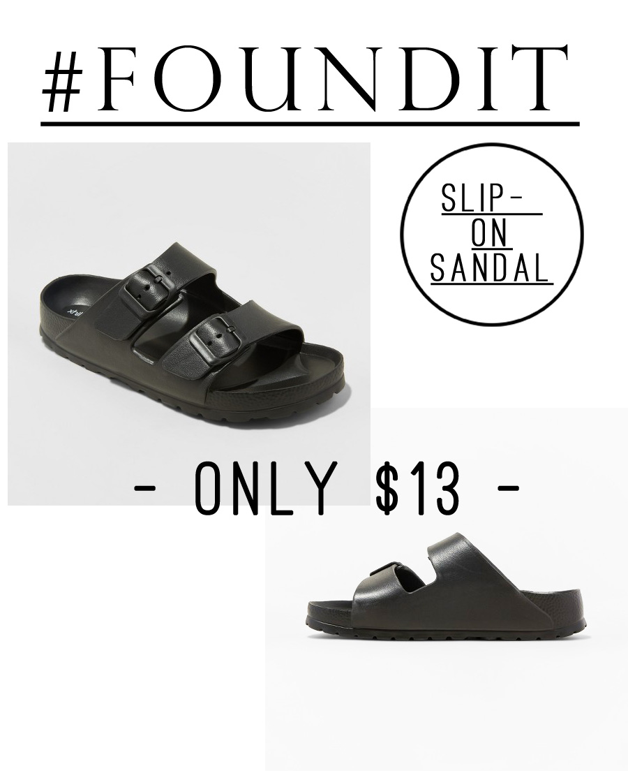 These sandals look just like black Birkenstocks, but are just $13! #minimalist