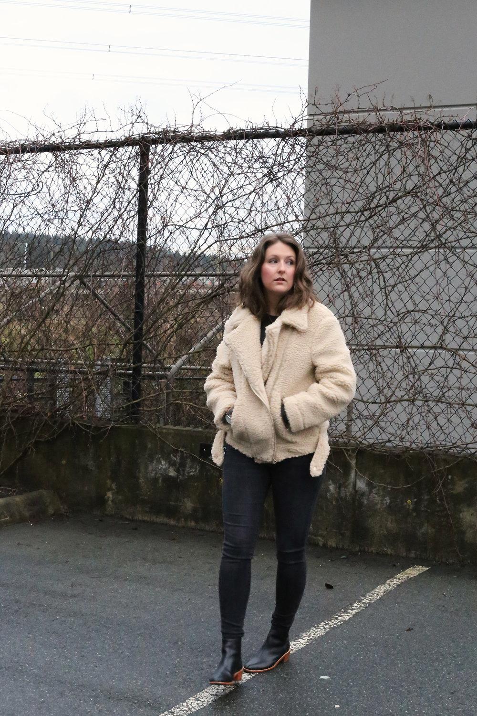 Minimalist street style - faux shearling (aka teddy bear hair) biker jacket.
