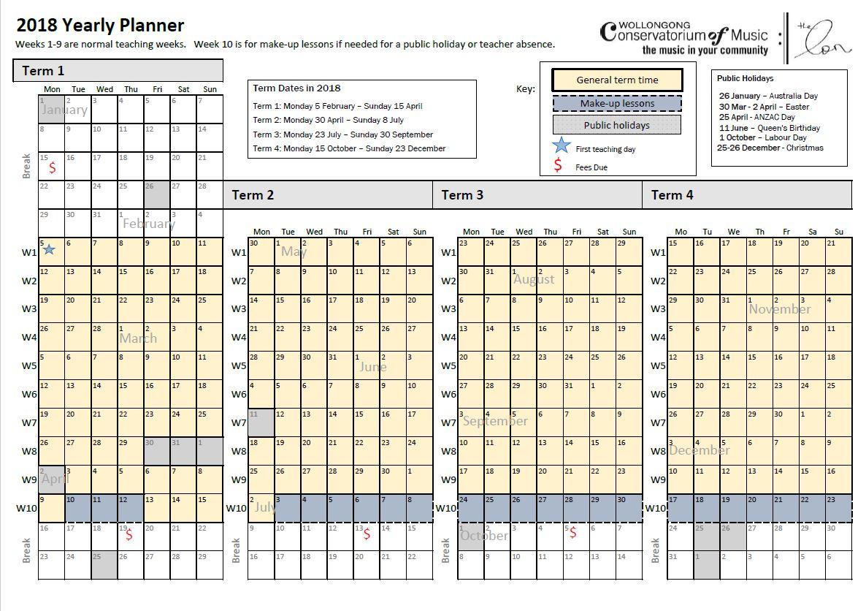 2018 term dates wollongong conservatorium of music