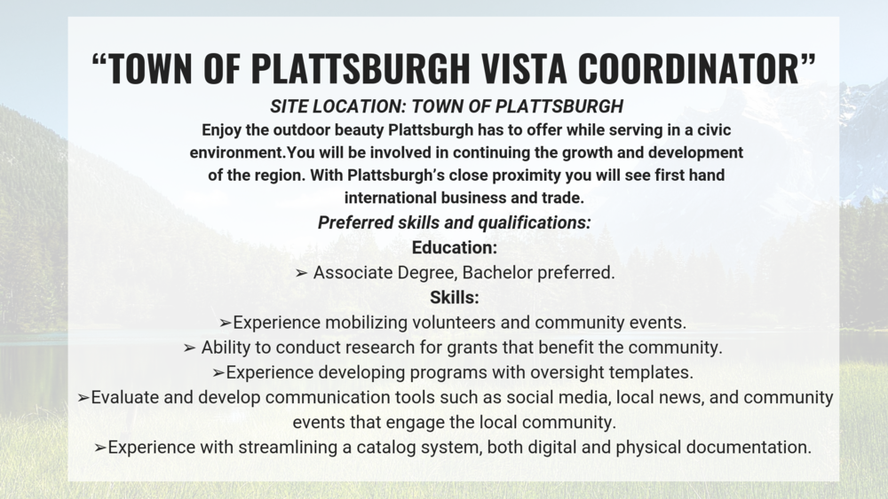 Learn more about the Town of Plattsburgh at:    http://townofplattsburgh.com