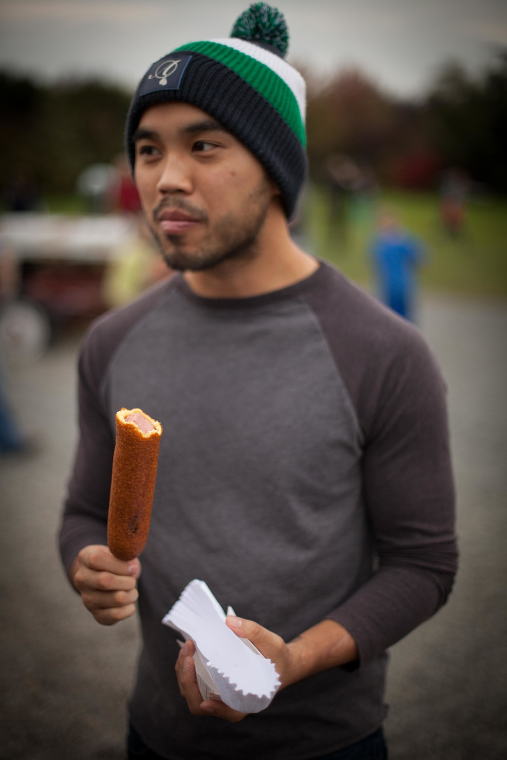 This is the face of someone who is excited about a corn dog