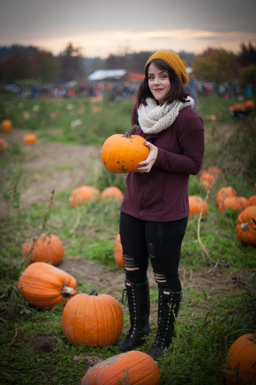 Pose awkwardly with pumpkin: check.
