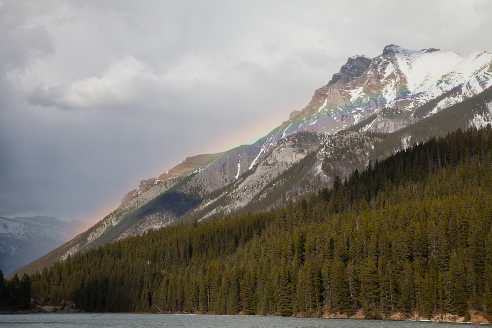 A thunderstorm was rolling in and created this beautiful Mountain Rainbow combo