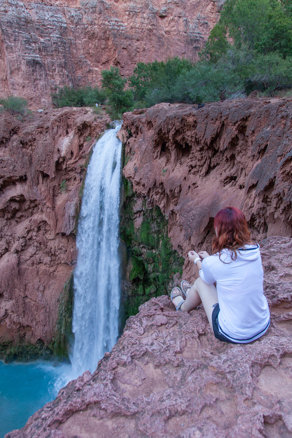 View from above Mooney Falls at the end of the campground