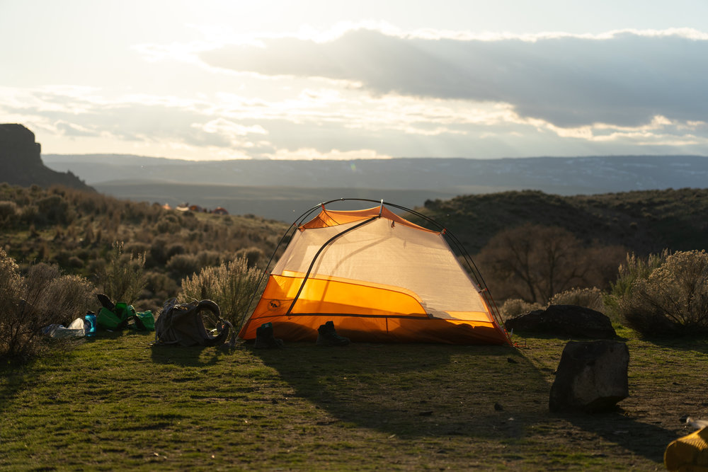 Tent at Ancient Lakes in early spring.