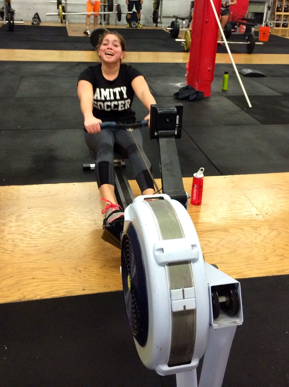 Someone is having way too much fun on the rower!