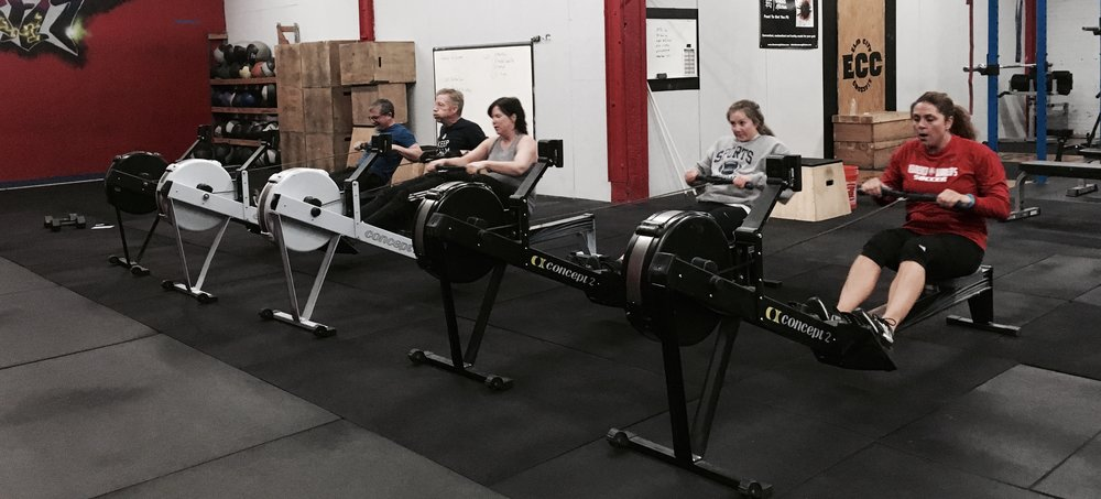 """Rich, Chris, Marie, Sarah, and Justine crush the 1000m row in Monday's """"Dumbbell Hell""""!"""