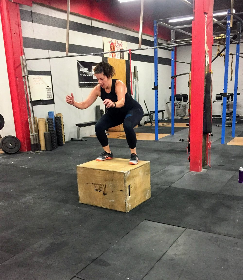 Lisa tackling the box jumps after a stormy run on Tuesday!