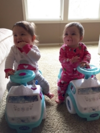 Big girls on their new Frozen cars