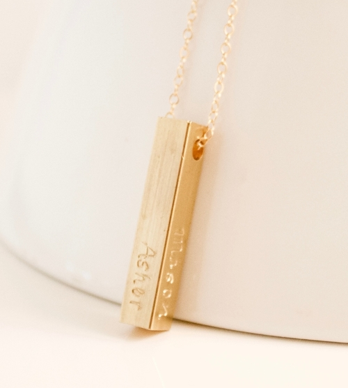 Chipchisel handcrafted jewelry four sided gold bar necklace four sided gold bar necklace aloadofball Gallery