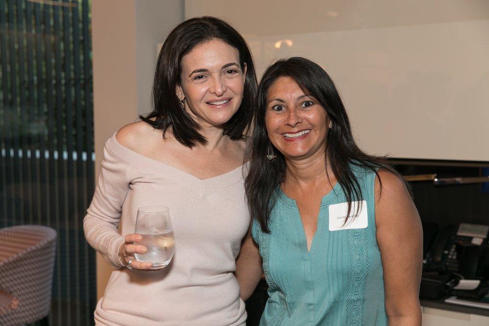 Sheryl Sandberg and an excited Corine