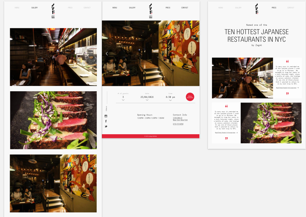 Here are the final deliverables: the web-responsive Izakaya site.
