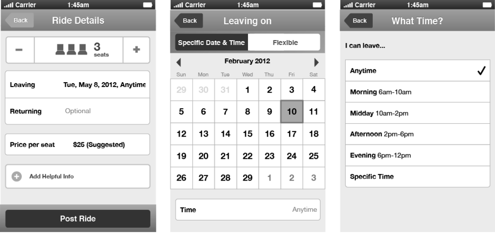 Wireframes Inputting ride details, departure date, and departure time.