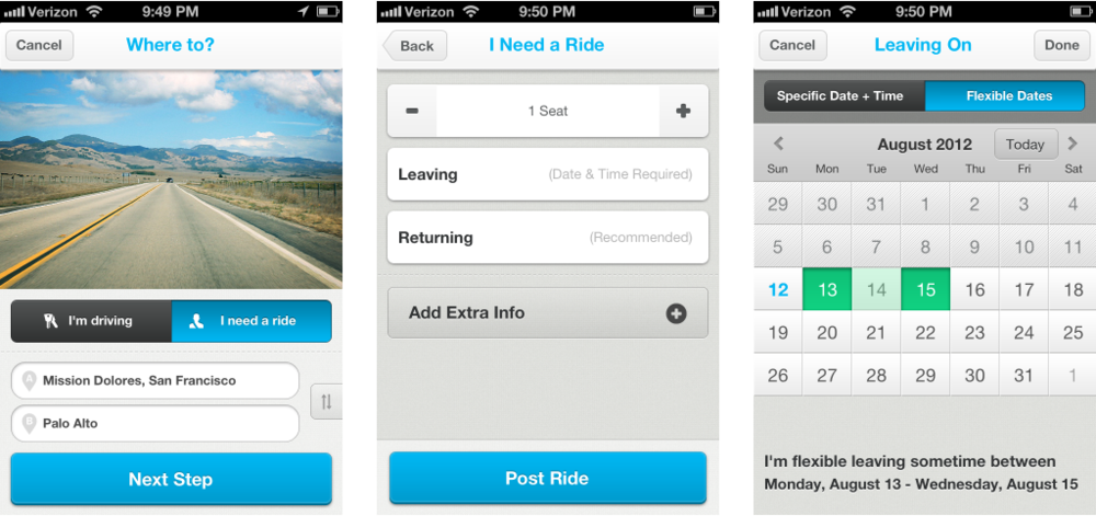 Final design  Post ride input flow: origin and destination , ride details, departure date.