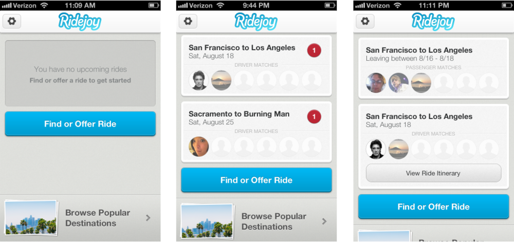 Final design  Dashboard states (no upcoming rides, two rides with alerts, and 2 rides with a confirmed itinerary)