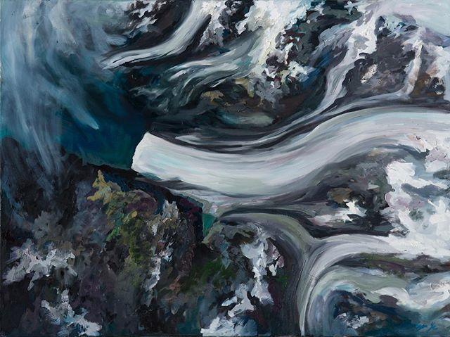 Retreating: Neumayer Glacier South Georgia, Jan 2005 - Sep  2018 Oil on canvas 40''x 30'' - - #nasaearth #nasa #imagesofchange #oiloncanvas #oiloncanvaspainting #abstrakt #artcollectors