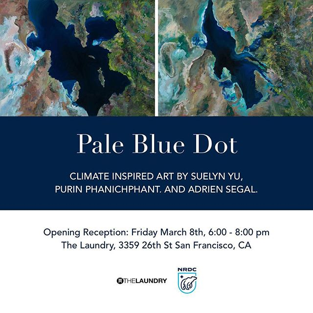 We're only 3 days away from my group show Pale Blue Dot at @thelaundrysf with @purin.co and @adriensegal I can't wait to show all the climate-inspired work we've put together.  The reception is this Friday 3/8 6-8pm. Come say hi / see art / sip wine / and meet some friendly people. *30% of the proceeds from the sale of Suelyn's artwork will benefit @nrdc_org  #artcollector #artlover #instagramart #instaartsy #artistsofinstagram #bestofbayarea #buylocalart #instaart #sfartist #instaarthub #sanfranciscoartgallery #oilpainter #artnerd #sfartscene #sanfranciscoart #sanfranciscoartist#investinlivingartists #sfartgallery #bayareaartist  #sfartgallery #artexplosionstudios #sfartshow #climatechange #nasa #nasajpl #planetearth
