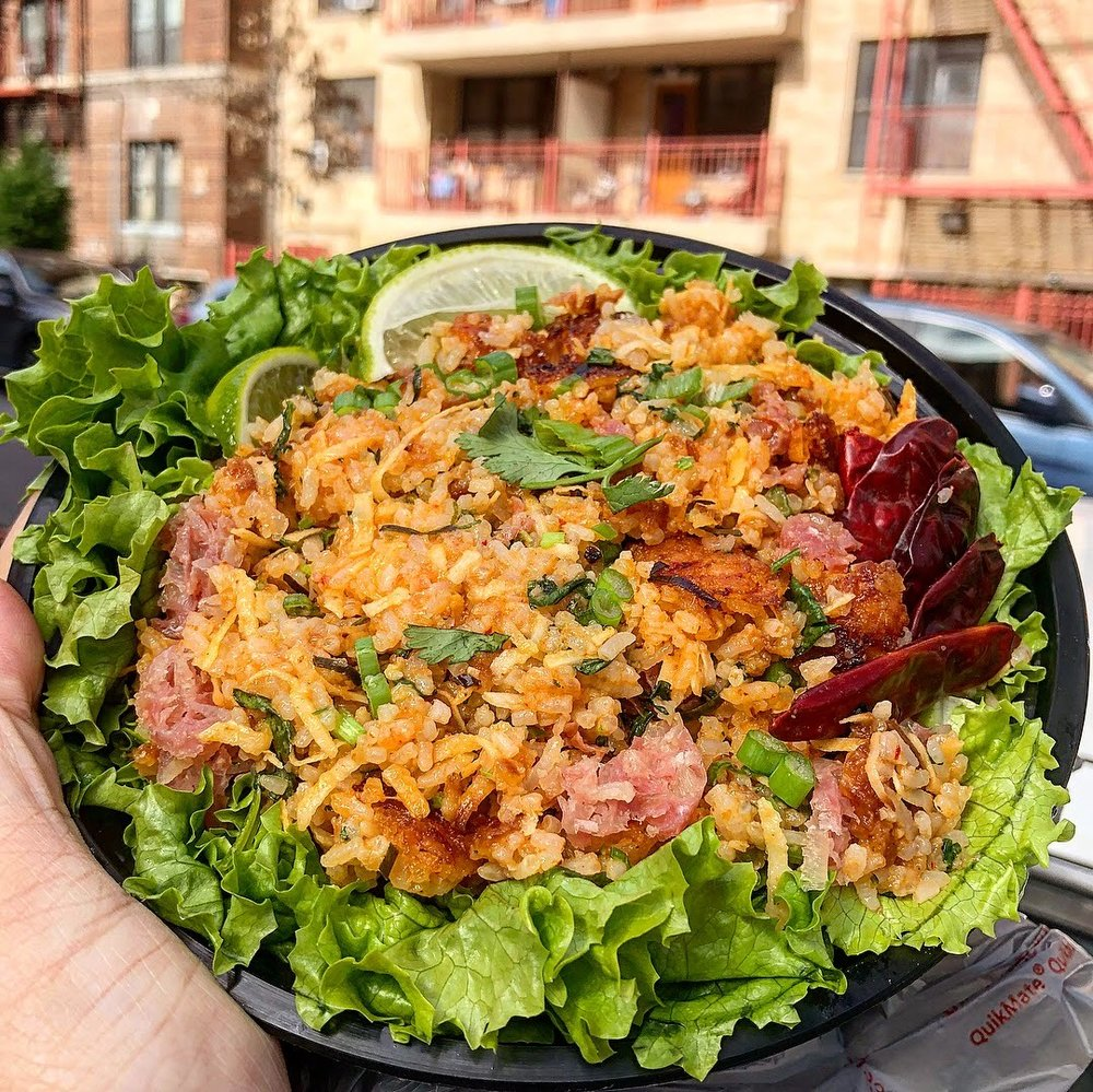 Nam Khao - crispy coconut fried rice w/ cured pork sausage