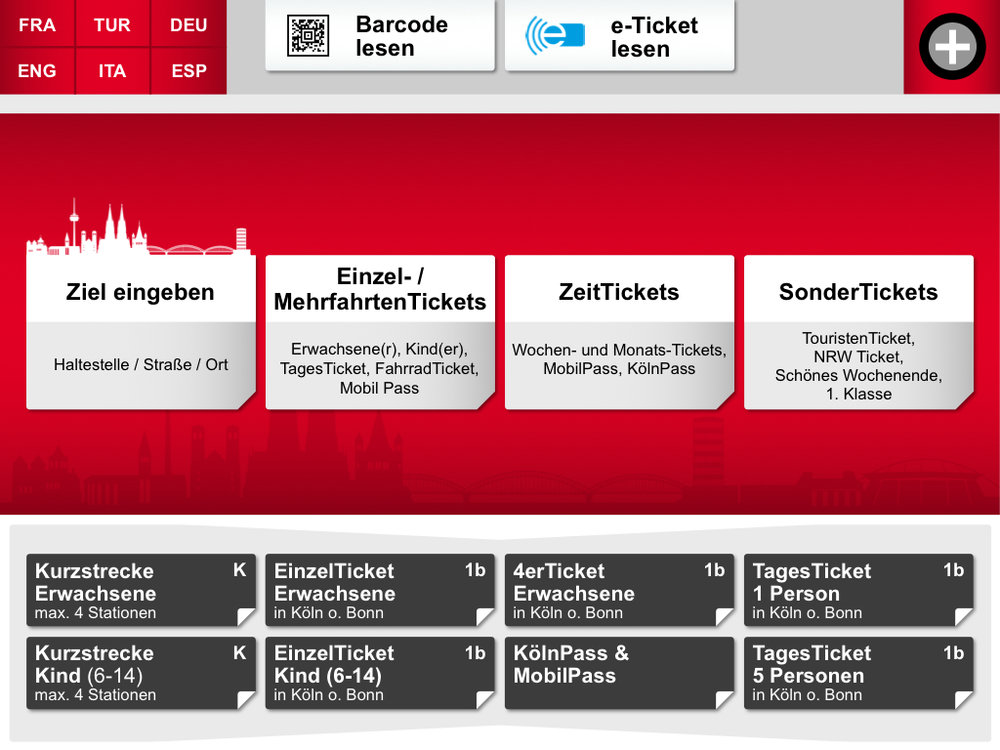 Die Startoberfläche der Kölner Automaten