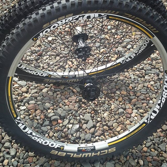 Mahoosive Doonhillers wheelset just finished. Beefy doesn't do them justice. . . . . . #handbuiltwheels #wheelbuilding