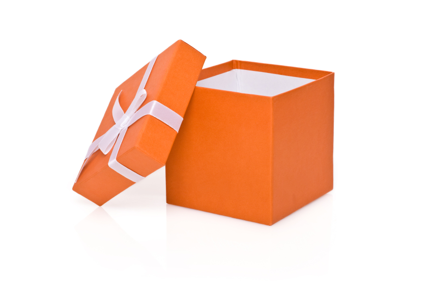 Open orange gift box.