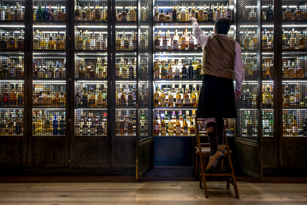 Whisky bottles in Scotch Bar