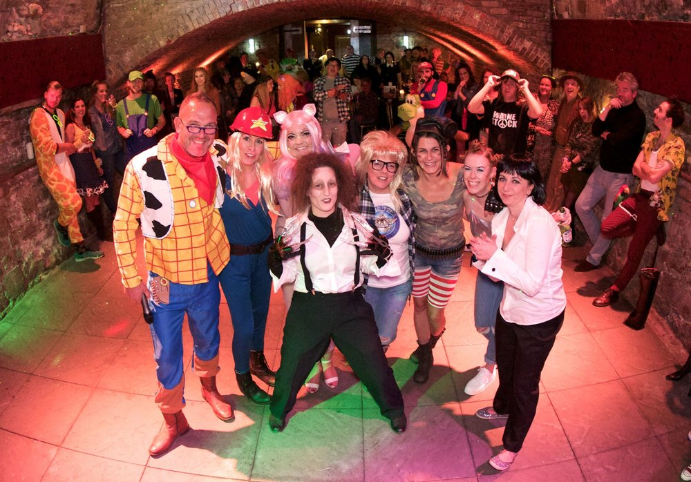 The Hello team in 90's fancy dress for our 20th Birthday Party in The Caves, Edinburgh