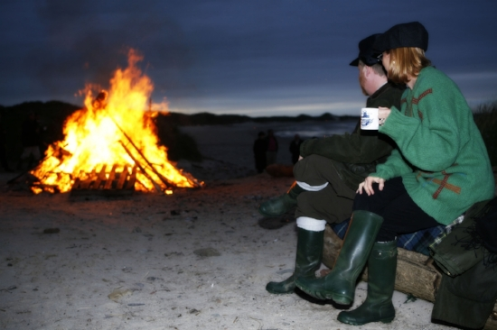 Cosy beach bonfire