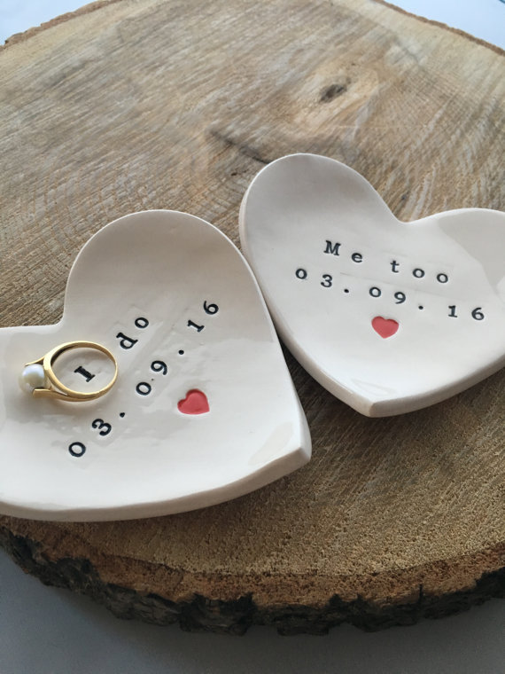 This isn't a dish at all, but makes its way onto our list because it's handmade, hand stamped with your chosen message, and even the the little heart can be custom colored and that makes it a great and unique way to store or display your ring. -- via Etsy