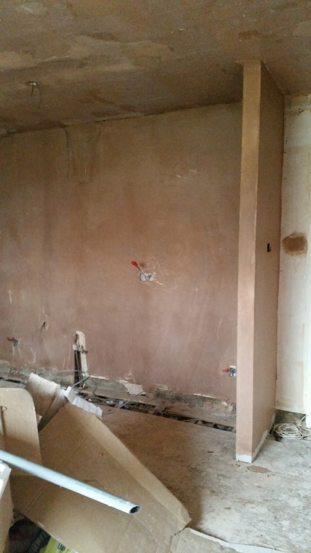 Newly plastered kitchen area