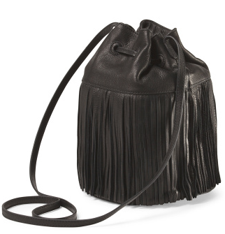 Margot leather fringe bucket bag- $79