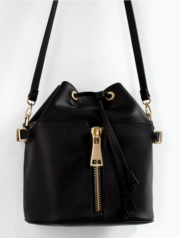 Vegan bucket bag with zipper- $79