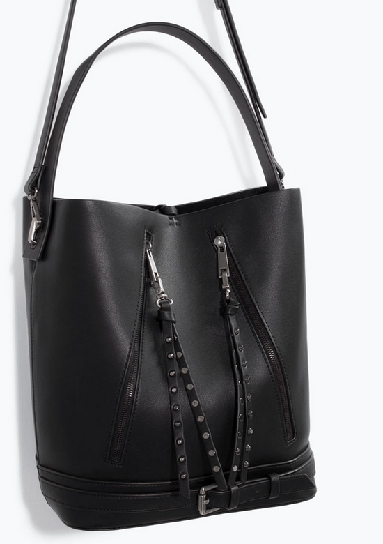 Vegan moto bucket bag- $69