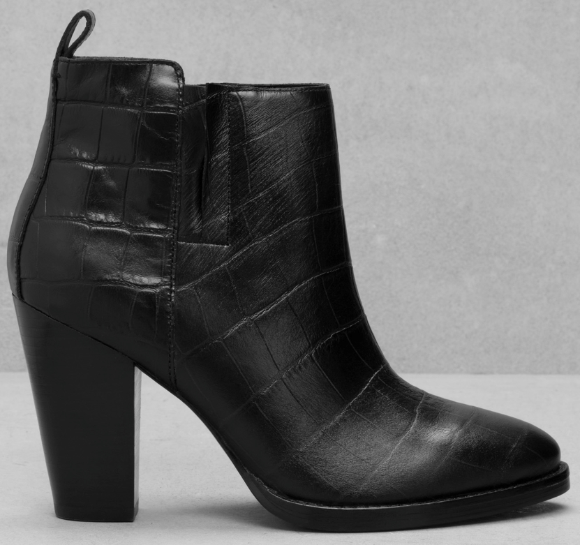 & Other Stories stacked heel embossed leather bootie- $150
